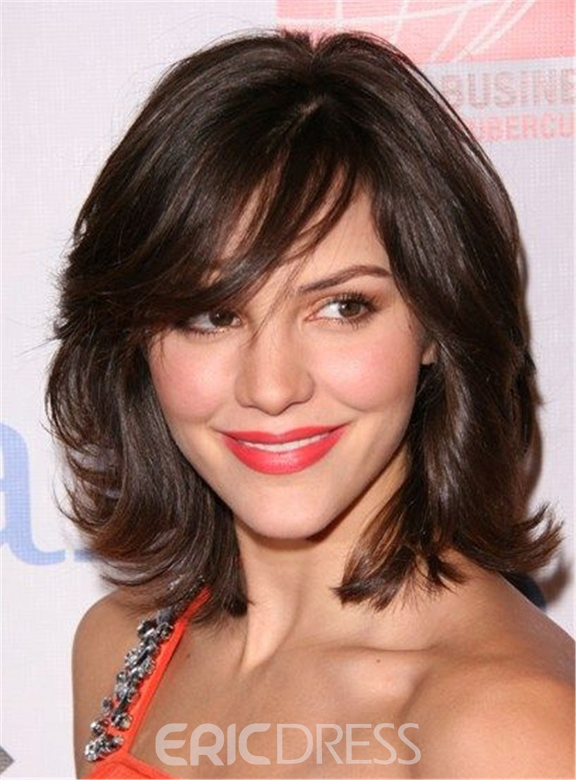 Ericdress Medium Wavy Cut with Bangs Synthetic Hair Capless wigs 12 Inches 12803716