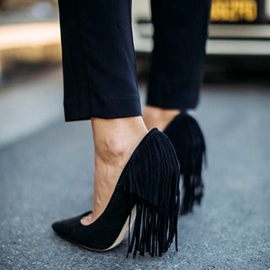Ericdress Plain Black Back Tassels Chunky Heels