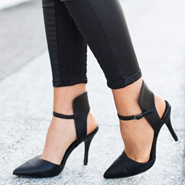 Ericdress Simply Black Ankle Wrap Stiletto Pumps