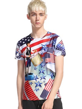 Ericdress Color Block Flag Pattern Casual Men's T-Shirt