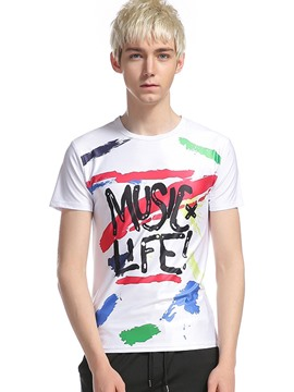 Ericdress 3D Letter Color Block Print Men's T-Shirt