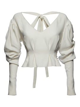 Ericdress Tie Bow Pleated Stylish Blouse