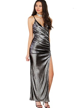 Ericdress Sleeveless Backless Asymmetric Maxi Sequin Dress