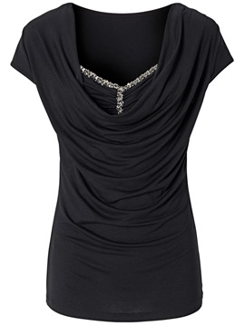 Ericdress Pleated Bead Slim T-Shirt