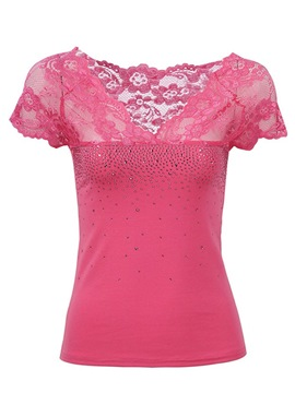 Ericdress Lace Floral Crochet Bead T-Shirt