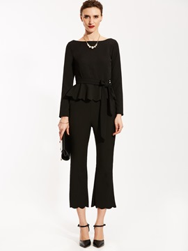 Ericdress Falbala Patchwork Blouse And Bellbottoms Suit