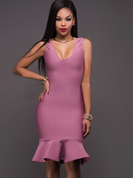 Ericdress Solid Color Sleeveless Mermaid Bodycon Dress