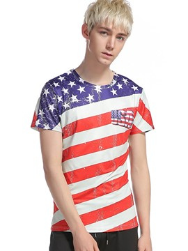 Ericdress Short Sleeve Flag Pattern Casual Men's T-Shirt