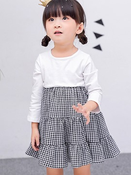 Ericdress Plaid Patchwork Long Sleeve Spring Girls Dress