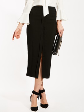 High-Waist Plain Asymmetric Mid-Calf Skirt