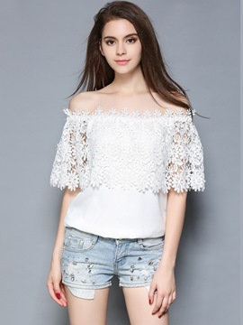 Ericdress Off-Shoulder White Blouse