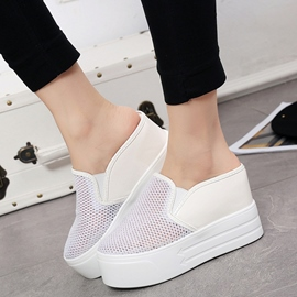 Ericdress Mesh Cut Out Slip on White Shoes