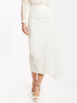 High-Waist Plain Mid-Calf Asymmetrical Skirt