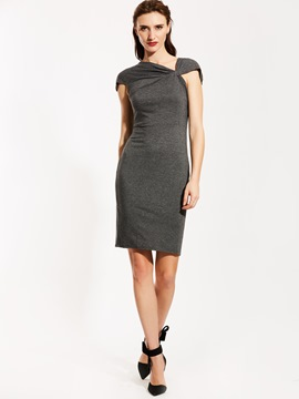 Ericdress Oblique Collar Plain Bodycon Dress