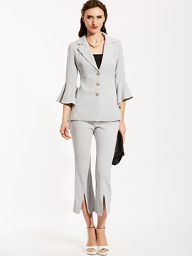 Ericdress Notched Lapel Coat And Ankle Length Pants Suit