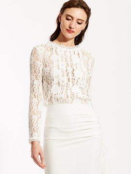 Ericdress Floral Lace Panel Blouse