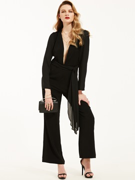 Lace-Up Deep V-neck Jumpsuits Pants