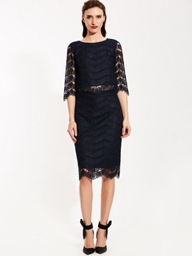 Half Sleeve Blouse And Lace Skirt Suit