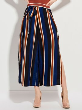 Color Block Stripe Wide Legs Pants