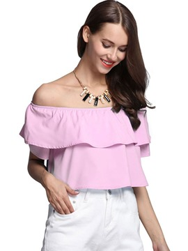 Ericdress Off-Shouler Ruffled Crop Blouse