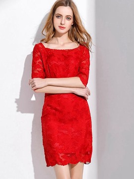 Ericdress Elegant Plain Square Neck Belt-Tied Lace Dress