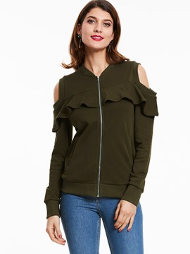 Ericdress Cold Shoulder Falbala Jacket