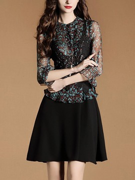 Ericdress Floral Double-Layer 3/4 Length Sleeves A Line Dress