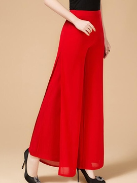 Ericdress High-Waist Asymmetric Chiffon Pants