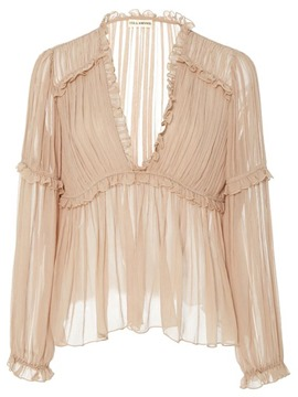 Ericdress Pleated See-Through Blouse