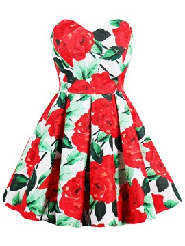 Ericdress Red Rose Printing Pleated-Detail Bustier A Line Dress