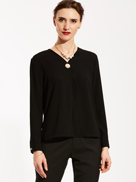 Ericdress Slim V-Neck Button Pullover Blouse