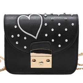 Ericdress Stylish Love Heart Rivets Decorated Shoulder Bag