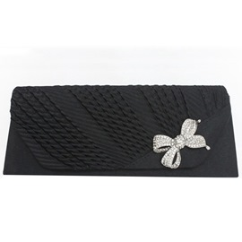 Ericdress Bowknot Rhinestone Satin Evening Clutch