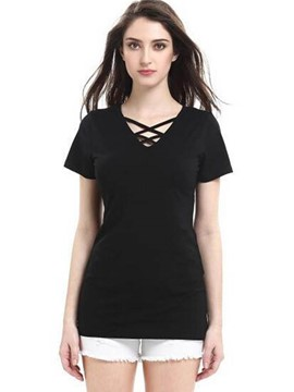 Ericdress Cross Strap Black T-Shirt