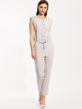 Ericdress Round Neck Sleeveless Women's Jumpsuits