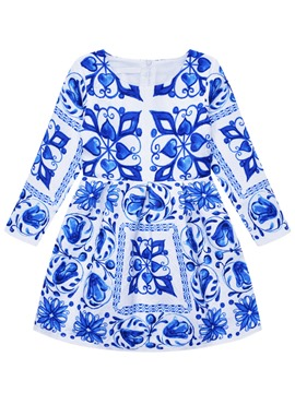Ericdress Blue and White China Long Sleeve Girls Dress