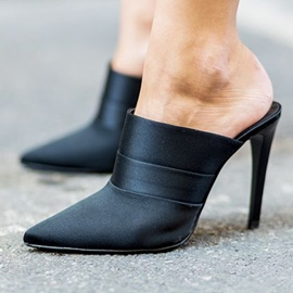 Ericdress Sexy Black Point Toe Mules Shoes