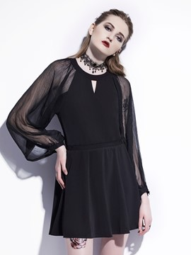 Ericdress Halloween A-Line Mesh Long Sleeves Women's Dress
