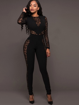 Ericdress Round Neck Tight Perspective Long Sleeve Women's Jumpsuits