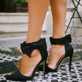 Ericdress sweet black side bow stiletto pumps