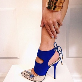 Ericdress Blue Back Lace Up Platform Pumps