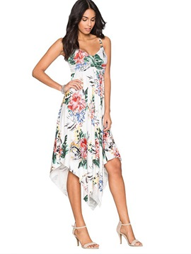 Ericdress Spaghetti Strap Floral Asymmetrical A Line Dress