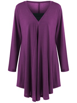 Ericdress Plus Size Pleated Tunic T-Shirt