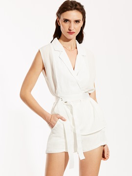 Ericdress Notched Lapel Sleeveless Blouse And Shorts Suit