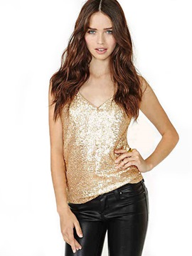 Ericdress V-Neck Sequins Vest