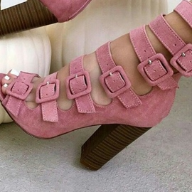 Ericdress Pink Buckled Peep Toe Chunky Booties