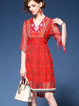 Ericdress Ethnic V-Neck Asymmetric Floral Casual Dress