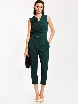 Ericdress V-Neck Sleeveless Blouse And Harem Pants Suit