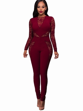 Ericdress Perspective Tight Lace Women's Jumpsuits