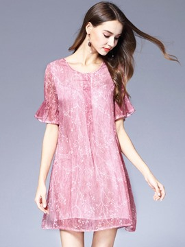 Ericdress Stylish Chiffon Ruffle Sleeve Casual Dress
